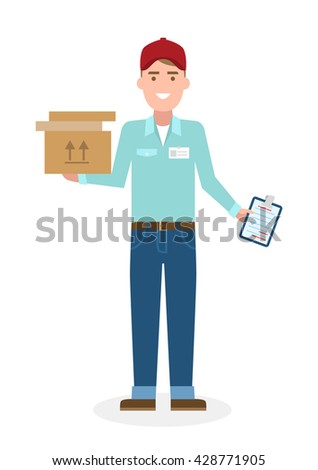 Delivery man with parcel. Fast transportation. Isolated cartoon character on white background. Postman, courier with clipboard and package. - stock vector