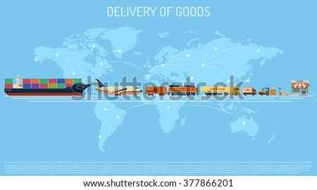 Delivery of Goods Logistics Concept with Railway Freight, Air Cargo, Maritime Shipping and Trucking Flat icons. vector illustration - stock vector