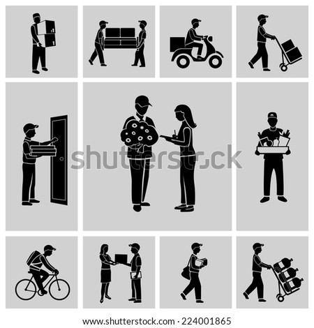 Delivery person courier service postman job icons black set isolated vector illustration - stock vector