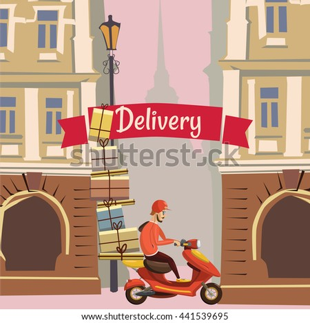 Delivery, pizza, food, background city, flyer, banner, vector illustration - stock vector