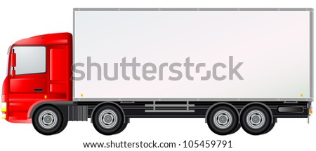 delivery red commercial truck isolated on white background - stock vector