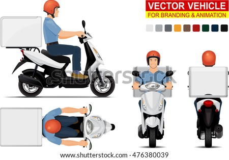 Delivery scooter.  Doors can be opened, colors can be changed, the elements are in the separate layers.