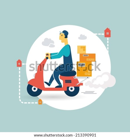 delivery scooter icon - stock vector