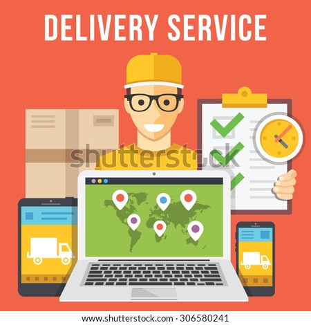 Delivery service and courier parcel collection flat illustration concepts. Modern flat design concepts for web banners, web sites, printed materials, infographics. Creative vector illustration - stock vector