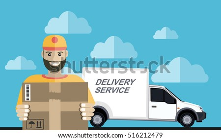 Delivery service and courier parcel collection flat illustration concepts. Modern flat design concepts