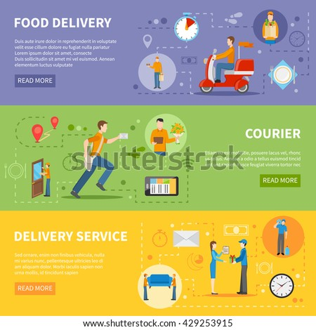 Delivery service and courier people delivering various goods horizontal colorful banners flat vector illustration - stock vector
