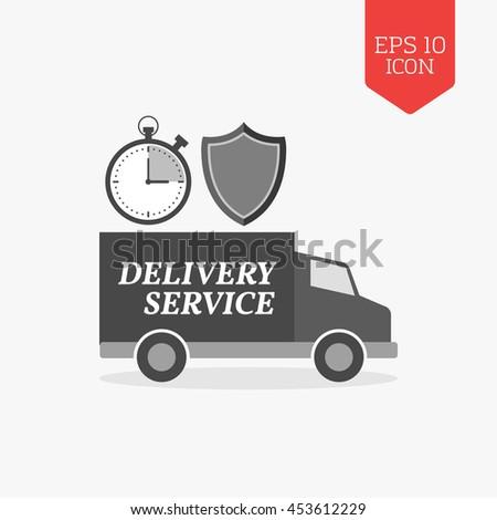 Delivery service concept icon. Flat design gray color symbol. Modern UI web navigation, sign. Illustration element - stock vector