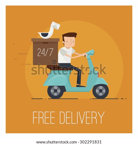 Delivery service concept. Man driving scooter. Vector illustration - stock vector
