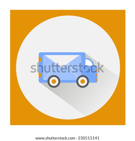 Delivery service flat icon. post car vector  - stock vector