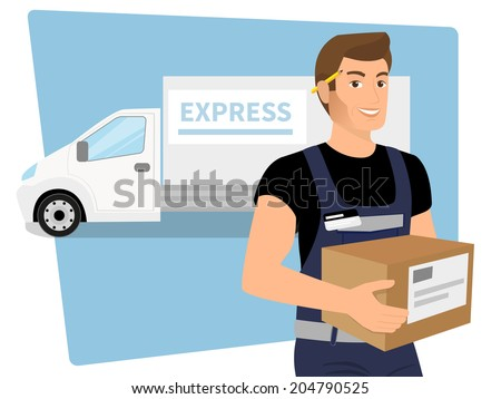 Delivery service man with a box in his hands and white delivery car behind him - stock vector