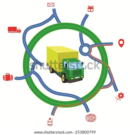Delivery service map with a Truck, vector illustration - stock vector