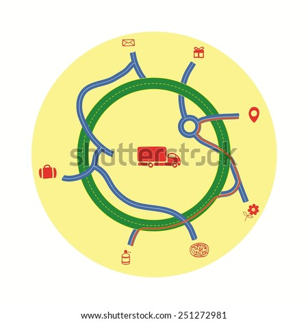 Delivery service on a background map - stock vector