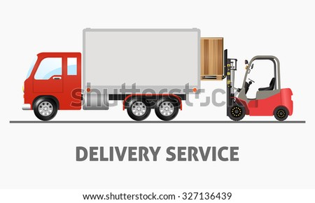Delivery Service - Shipping Truck and Forklift - stock vector