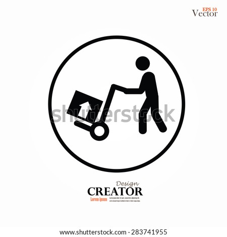 delivery services symbol on gray background.man icon with trolley.vector illustration. - stock vector