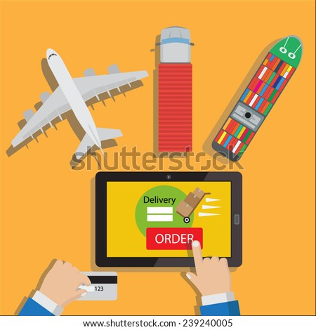 Delivery shipping concept order your product with online purchase  - stock vector