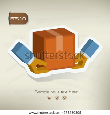 Delivery sticker design on old background,vector - stock vector