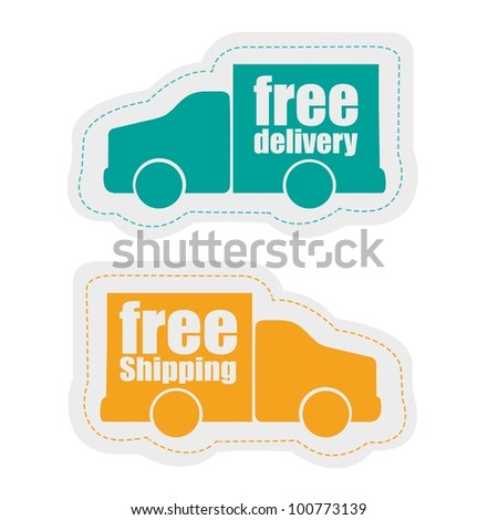 delivery stickers, isolated on white background, vector illustration - stock vector