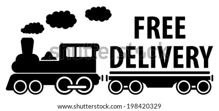 delivery symbol with train and platform for cargo - stock vector