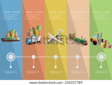 Delivery  time line and transportation icons. Vector illustration. - stock vector