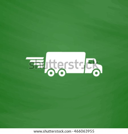 Delivery truck. Flat Icon. Imitation draw with white chalk on green chalkboard. Flat Pictogram and School board background. Vector illustration symbol