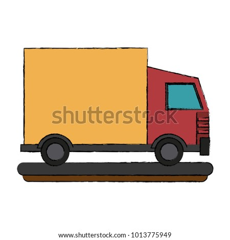 Delivery truck isolated