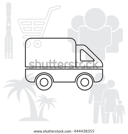Delivery Truck line icon. Vector illustration.