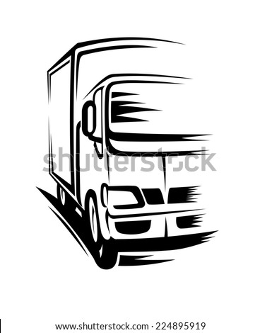 Delivery truck moving on road for transportation concepts - stock vector