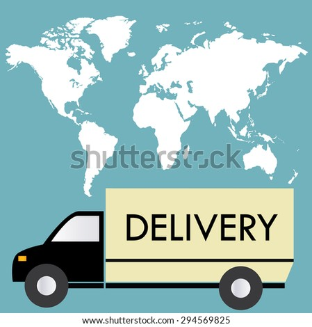 delivery truck on a background map of the world, flat, vector illustration - stock vector
