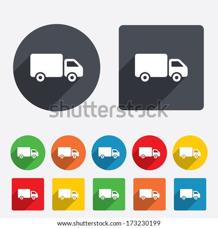 Delivery truck sign icon. Cargo van symbol. Circles and rounded squares 12 buttons. Vector - stock vector