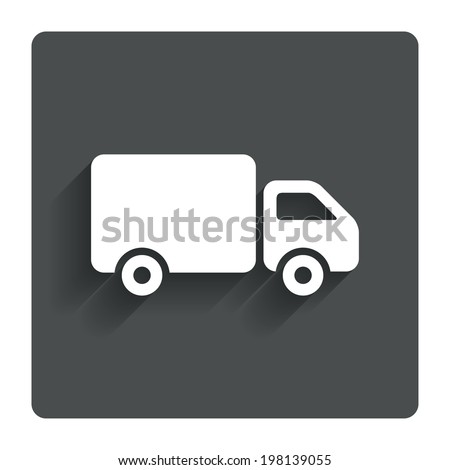 Delivery truck sign icon. Cargo van symbol. Gray flat button with shadow. Modern UI website navigation. Vector - stock vector