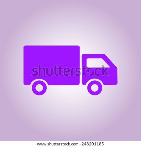 Delivery truck sign icon. Cargo van symbol. Shipments and free delivery. Flat style. Vector EPS 10. - stock vector