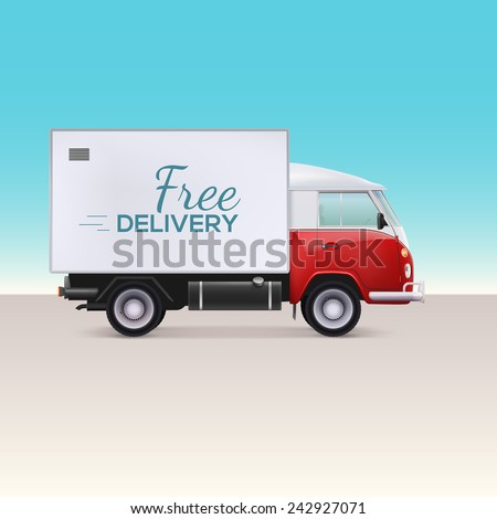 Delivery truck. Vehicle for the delivery of goods. Free delivery inscription