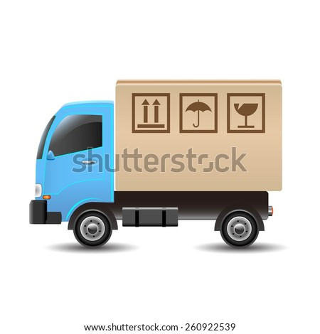 Delivery truck with a cardboard box. Vector illustration - stock vector