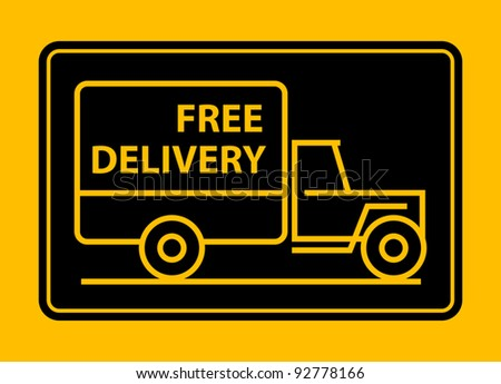 Delivery truck with text free delivery, vector illustration - stock vector