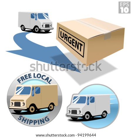 Delivery truck with urgent box, free local shipping, fast delivery - stock vector