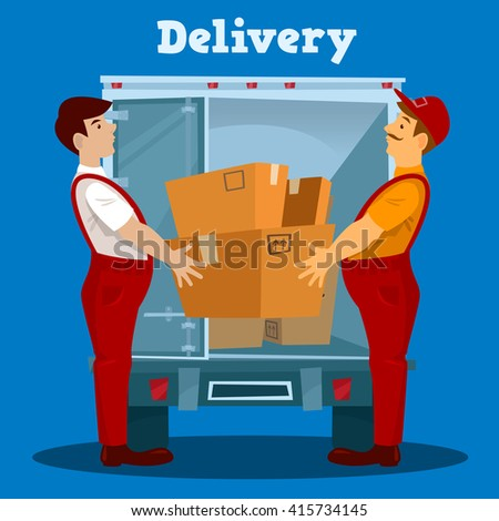 Delivery Van. Delivery man with Box. Delivery Concept. Vector illustration - stock vector