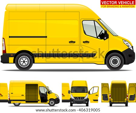 Delivery van.  Doors can be opened, colors can be changed, the elements are in the separate layers. I'd recommend to rasterize each vector layer before exporting the file to PSD format.