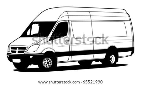 Delivery van hand draw illustration, vector - stock vector