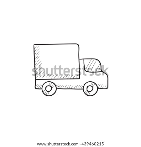 Delivery van vector sketch icon isolated on background. Hand drawn Delivery van icon. Delivery van sketch icon for infographic, website or app. - stock vector