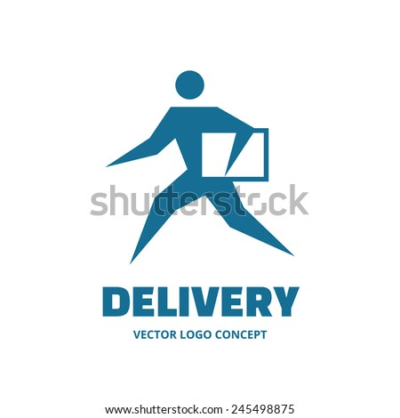 Delivery - vector logo concept. Running man. People character. Vector logo template. Human logo. Human icon. Human character illustration. Design element. - stock vector