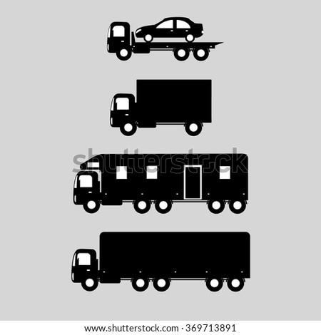 delivery vector trucks - evacuator, trailer, trucks. Icon cars. - stock vector