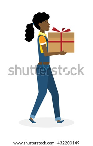 Delivery woman with gift. Fast transportation. Isolated african american cartoon character on white background. Postwoman, courier with gift, present for birthday, anniversary and more.