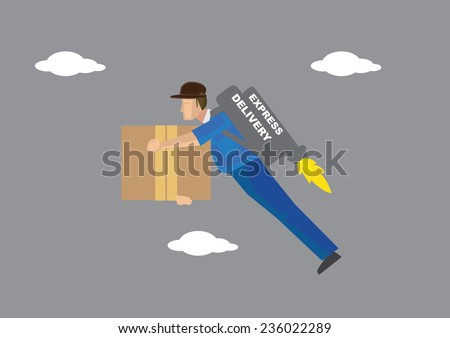 Deliveryman carrying a big carton box in hand and a propeller power jet pack on his back flying in the sky. Conceptual vector illustration isolated on grey background. - stock vector