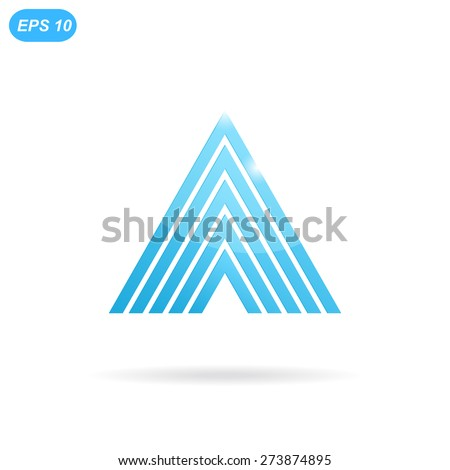 Delta letter logo template, 3d flat illustration, isolated, vector, eps 10 - stock vector