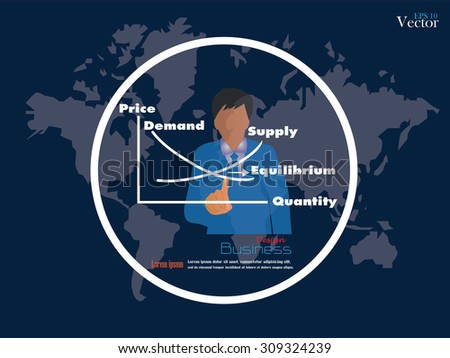 demand supply concept.business man point to demand supply on world map background.vector illustration. - stock vector
