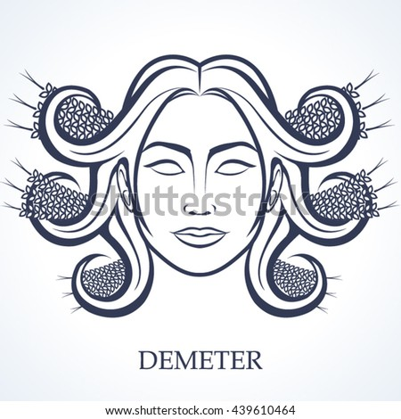 Demeter Greek Goddess Harvest Stock Vector Royalty Free 439610464