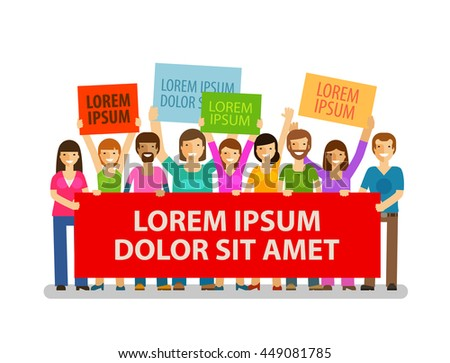 Democracy. Crowd of people with placards. Vector illustration - stock vector