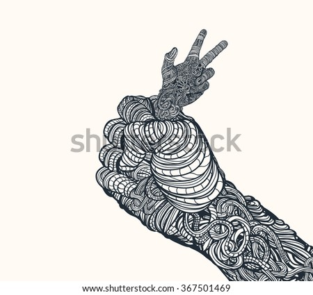 Democracy is struggling in the fist of power. - stock vector