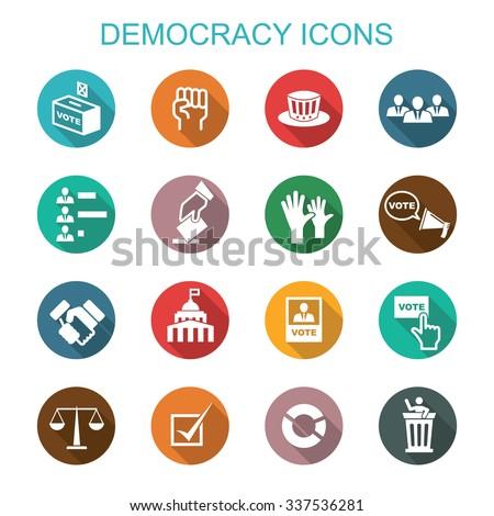democracy long shadow icons, flat vector symbols - stock vector