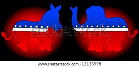 Democrat and republican party symbols (donkey and elephant) over red and black gradient background.Vector. - stock vector
